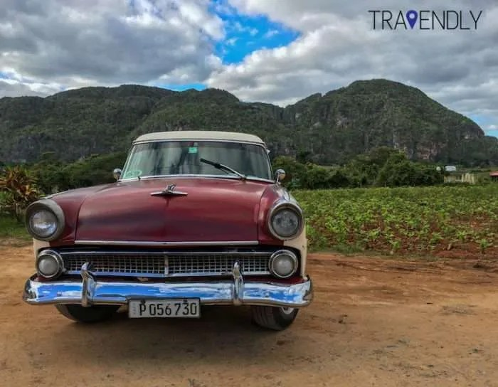 Classic car in the Vinales Valley
