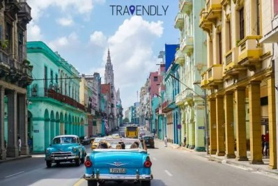 Beautiful and colorful buildings in Central Havana Cuba