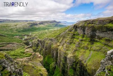 Views from the top of Glymur waterfall in Iceland