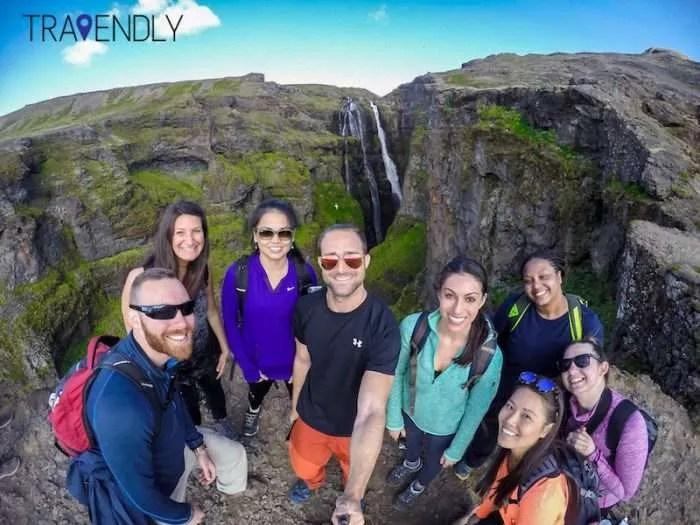 Glymur waterfall selfie