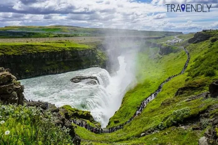Beautiful summer views of Gullfoss waterfall Iceland