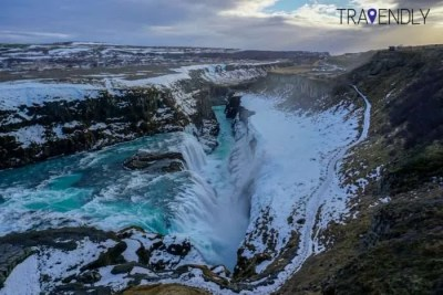 Gullfoss waterfall of Iceland in the winter