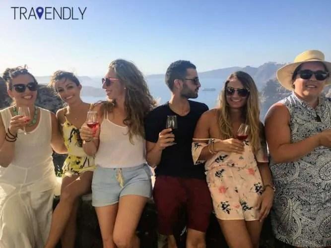 Imerovigli Santorini strike a pose