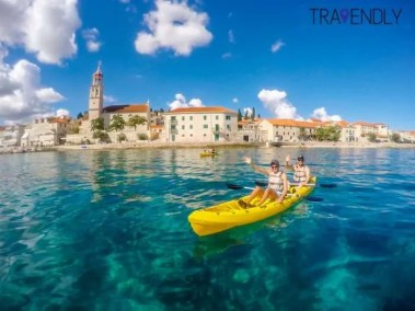 Kayaking in Supetar on Brac island, Croatia