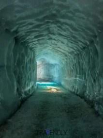 Inside an ice tunnel in Langjokull glacier in Iceland