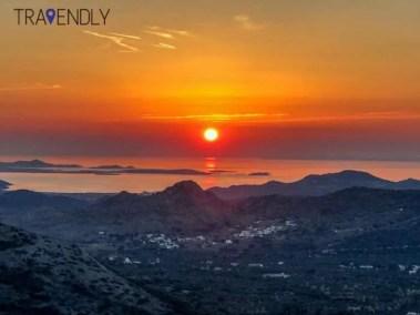Sunset view on Naxos island Greece