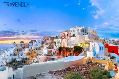 Pastel colors of Fira, Santorini, Greece