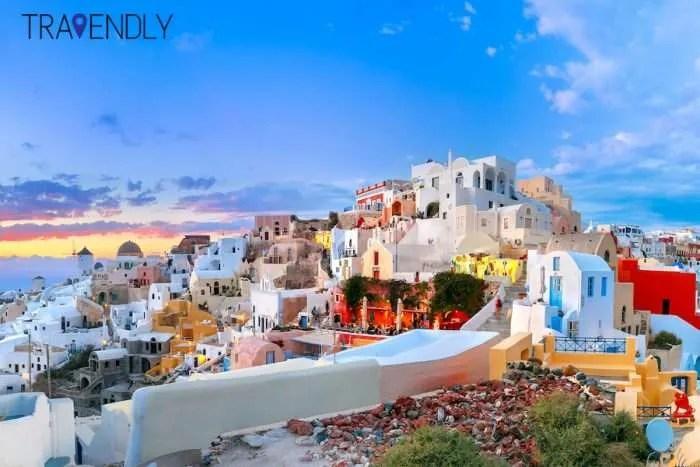 Pastel colors of Fira Santorini Greece