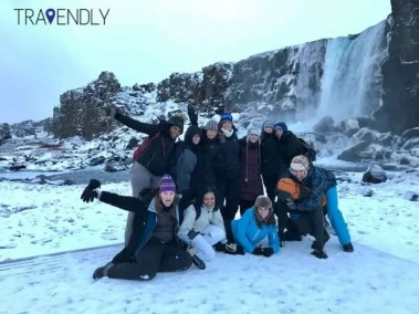 Group silliness in Thingvellier National Park