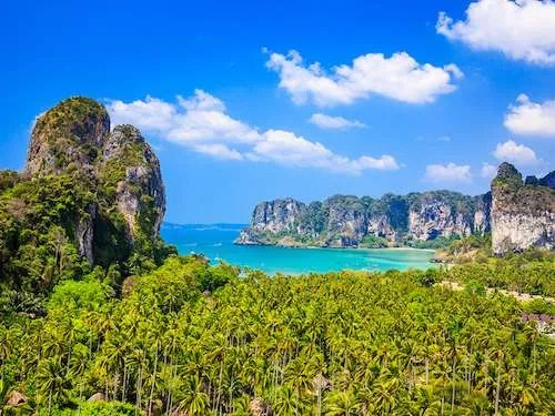 View from the cliff on Railay beach Ao Nang Thailand