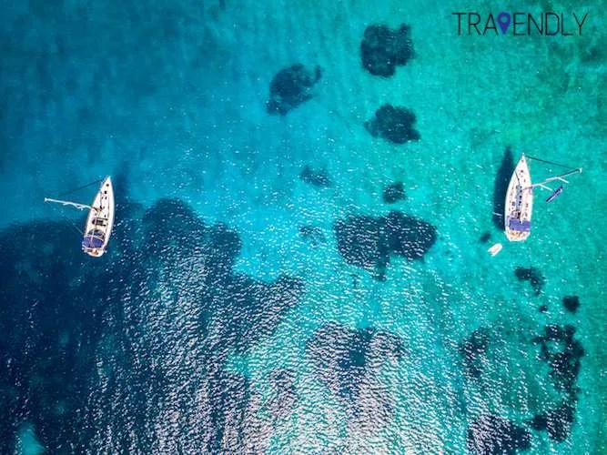 Drone shot of our sailing boats in Naxos