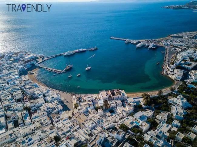 Aerial shot of Mykonos Town