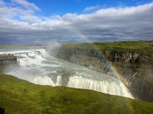 Gullfoss waterfall Iceland rainbow summer day