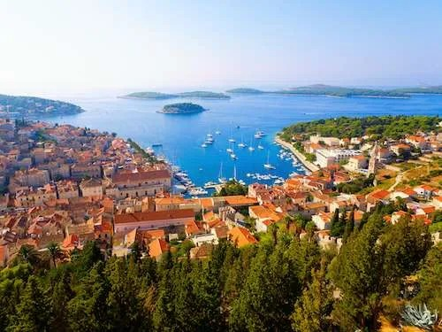 Sunny day aerial shot of Hvar Town Croatia