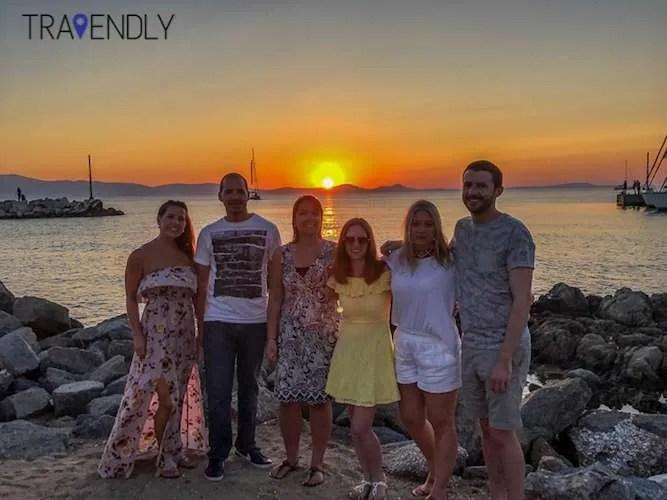 Sunset along Naxos port