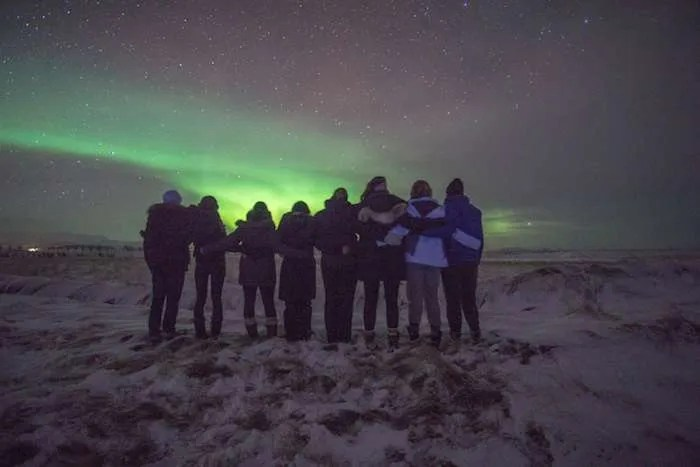 Iceland Northern Lights group staring