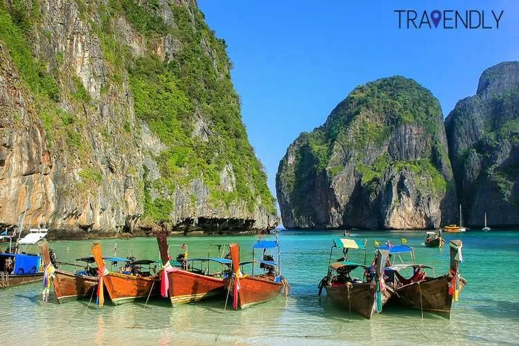 Longtail boats in Maya Bay on Phi Phi Leh Island