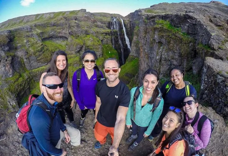 glymur waterfall iceland group travel tour selfie