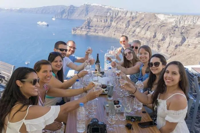 Santorini Greece group travel wine views