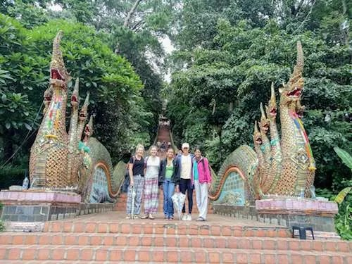 Chiang Mai Doi Suthep Naga statues group