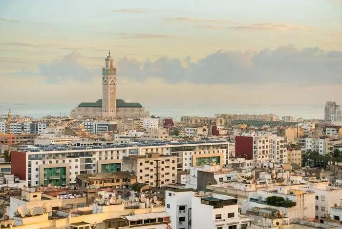 Casablanca cityscape with Hassan II Mosque Morocco