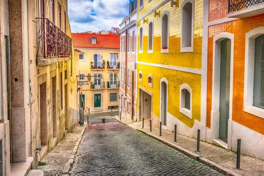 Side street in Lisbon Portugal