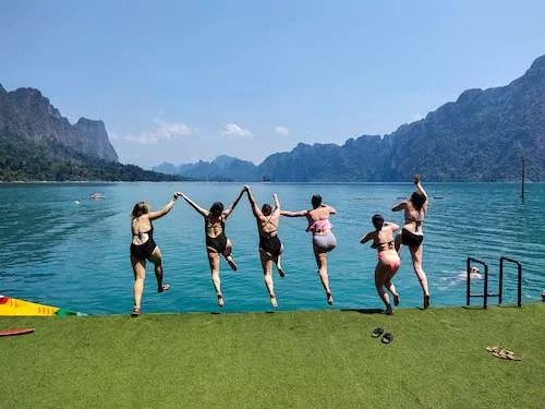 Jumping for joy Thailand group