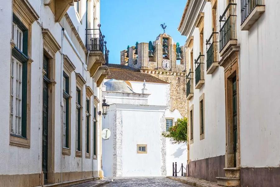 Old street in historical Faro Algarve Portugal