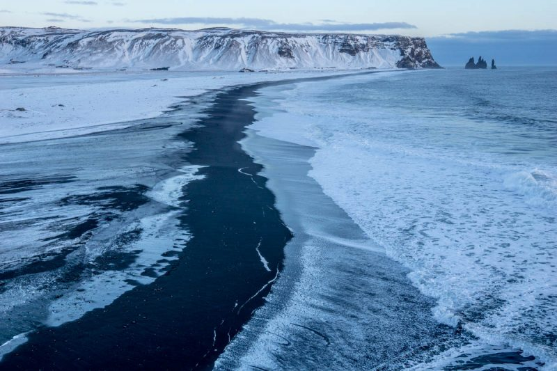 Black sand beach in the Icelandic winter