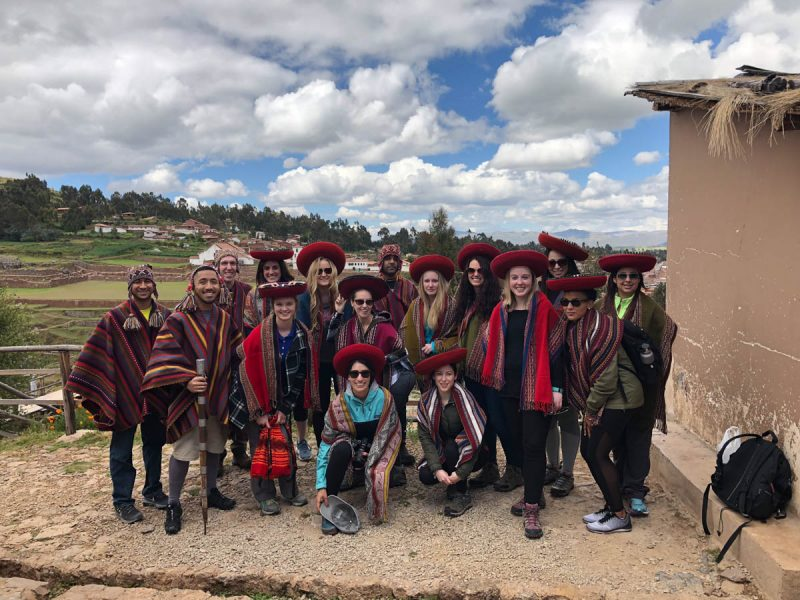 Dressing like the locals in Cusco Peru