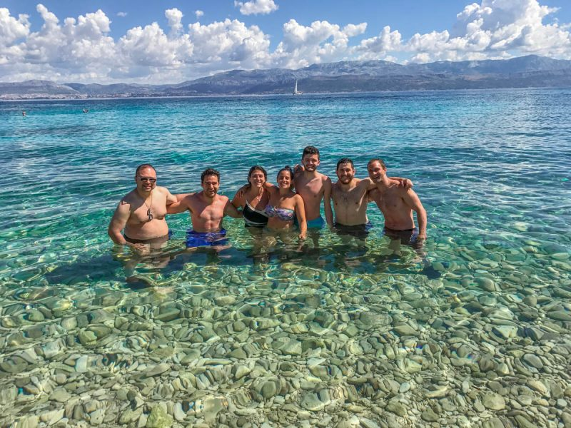 Group in crystal clear water Croatia