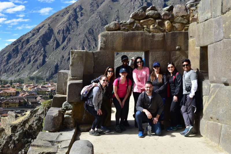 Group shot in the ruins of Ollantaytambo Peru
