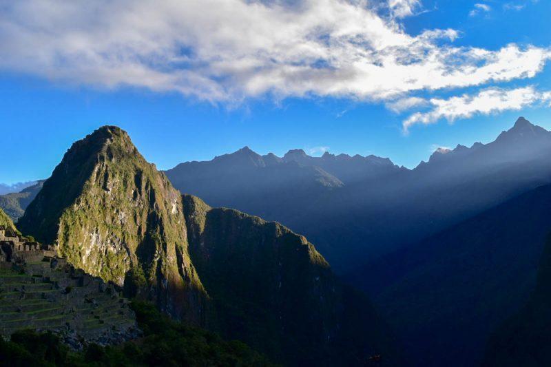 Ray of light hitting Machu Picchu