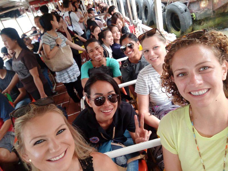 Selfie on the water taxi in Bangkok Thailand