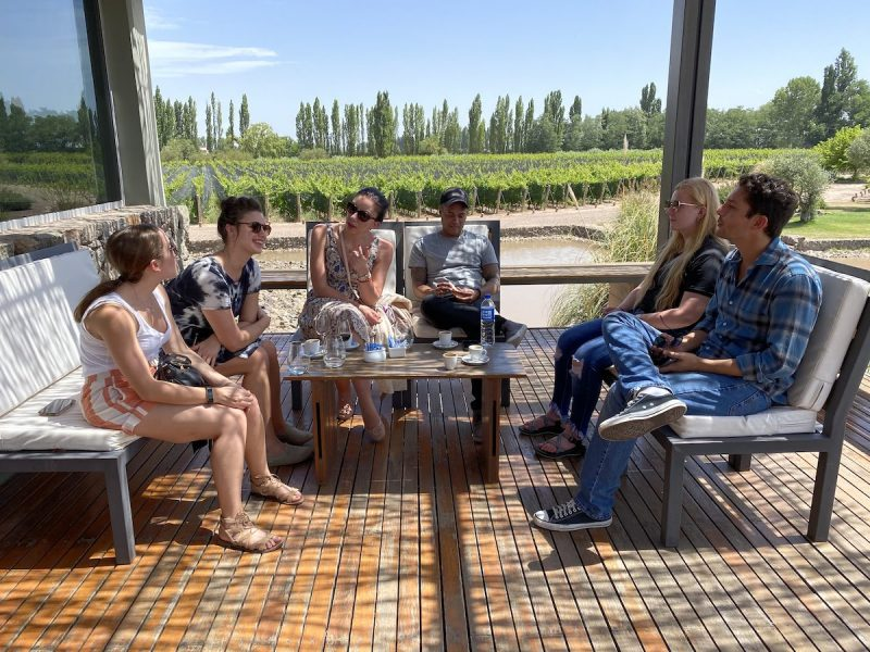 Relaxing at a winery in Mendoza