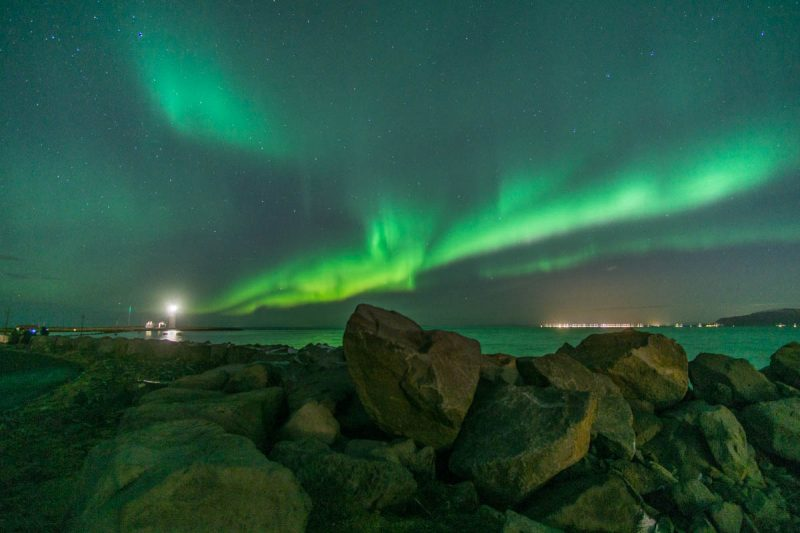 Blazing Northern Lights in Reykjavik