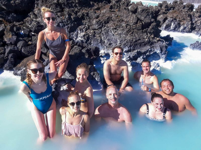 Group shot in the blue lagoon