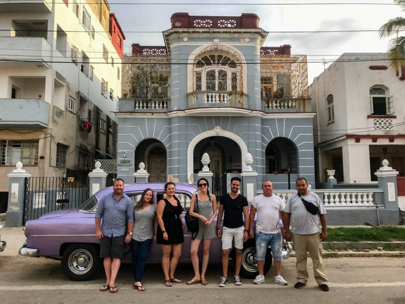 Hanging out outside our casa in Havana