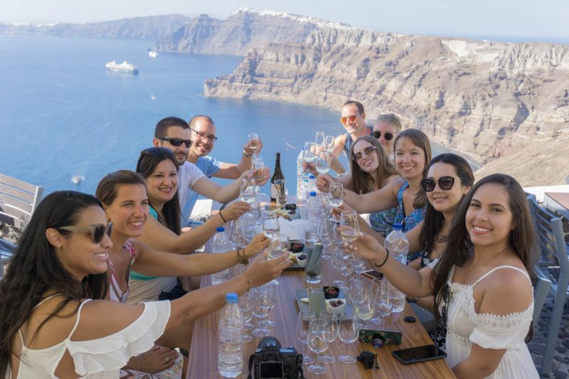 Cheers to Greece and these Santorini views