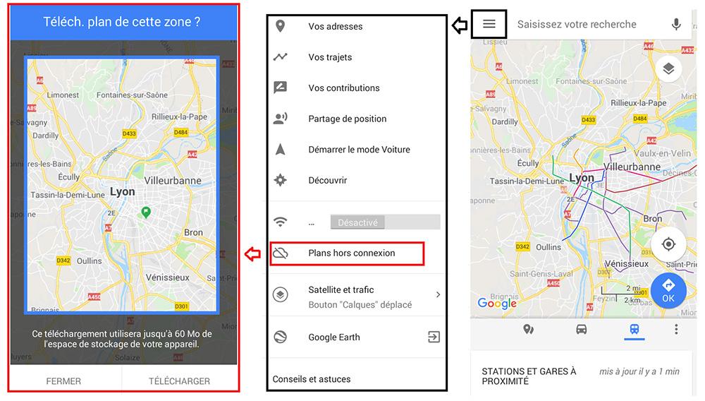 conseils pour un premier voyage en sac à dos - Carte google map hors connexion - Conseil-voyageur