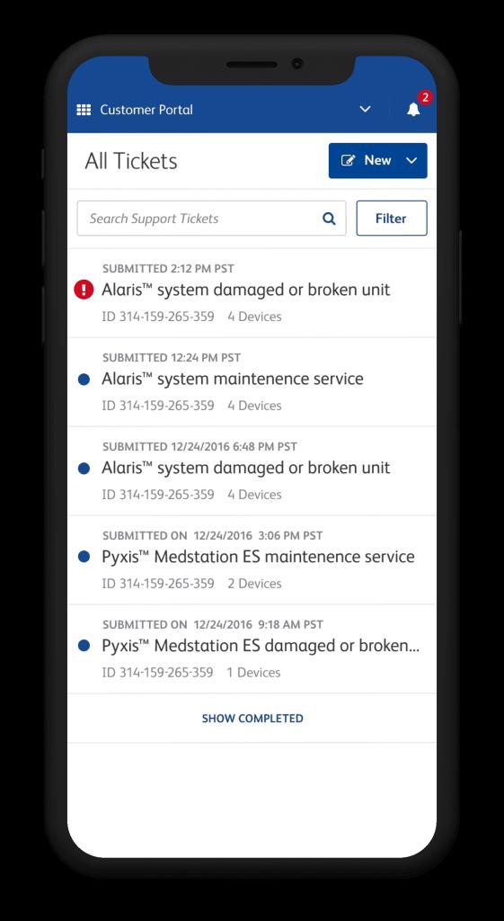Screenshot of a mobile customer service center inbox.