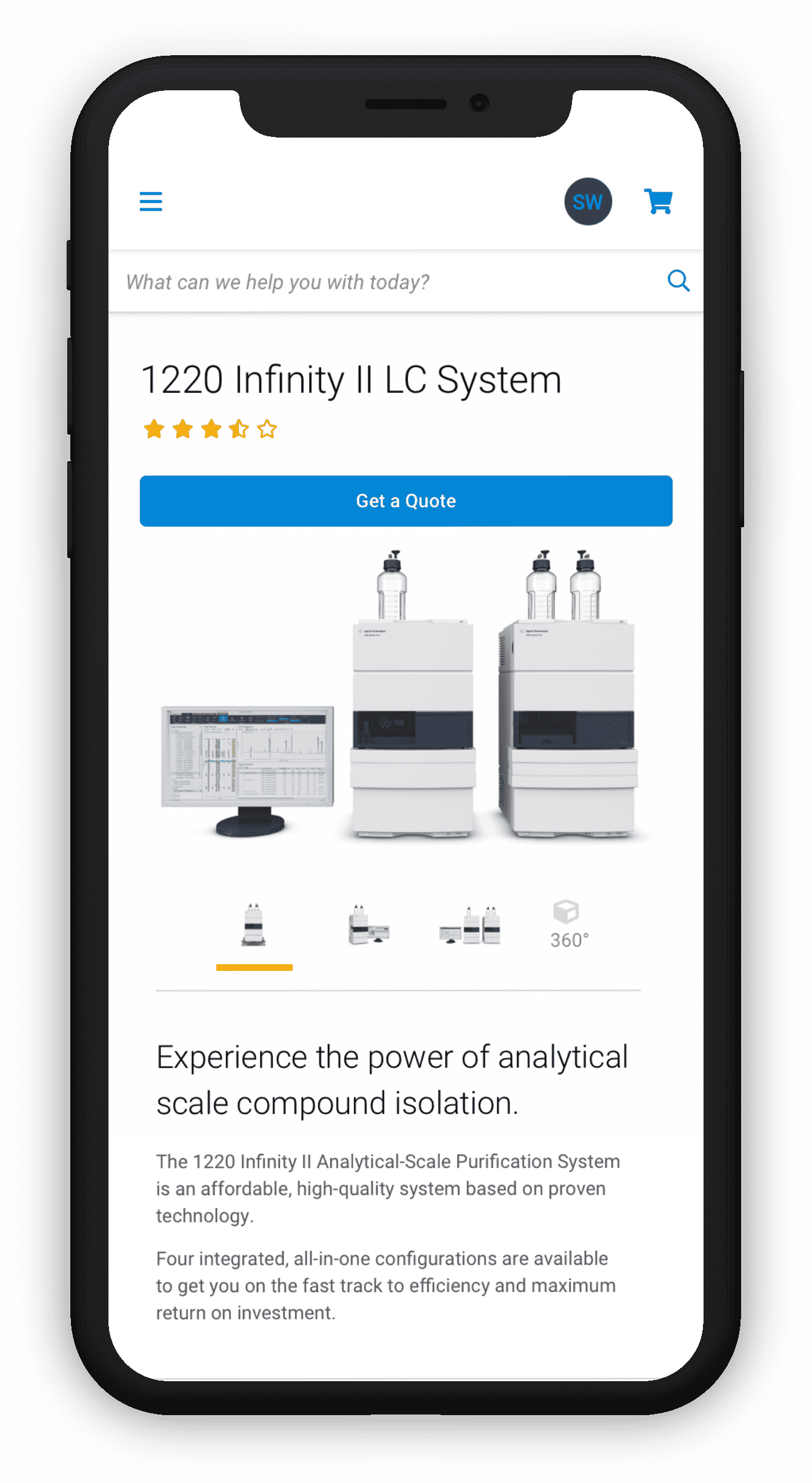 Mobile view of the large scientific equipment product page.