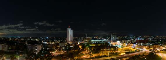 The South Brisbane Skyline from the Sebel Hotel, (facing south I believe), taken with Nikon D5300 and a Nikor 18-55mm Lens and stitched using Lightroom's Panorama function.