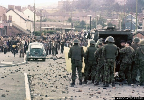 British troops stand guard in Londonderry, Northern Ireland, during disorders in the area in 1969. (AP Photo)