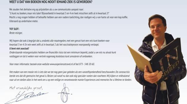 Open brief aan Rutte: 'Van boeken van een reis is nog nooit iemand ziek geworden'