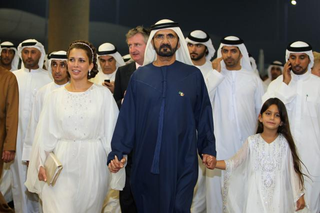Dubais hersker, Sheikh Mohhamed - her ledsaget af Princess Haya, måtte vente til 9. løb,  Dubai World Cup for at have en vinder. Foto DWC