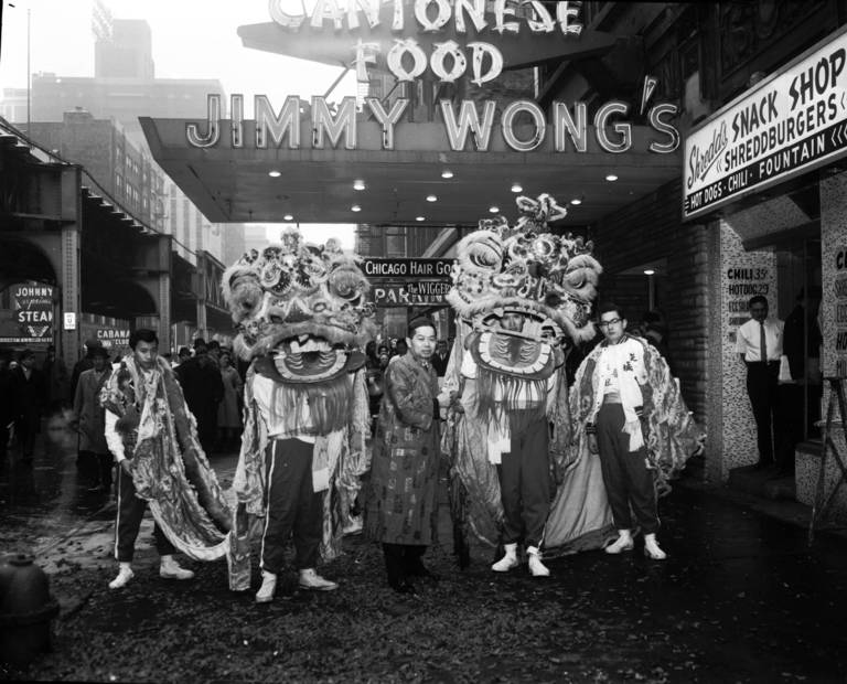 Vintage  Chicago celebrates Chinese New Year    Chicago Tribune Chinese lions dance outside Jimmy Wong s restaurant in celebration of the  Chinese New Year in 1965