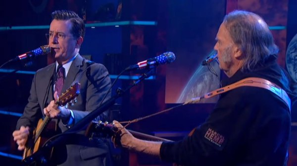 Neil Young teams with Stephen Colbert for a semi ...
