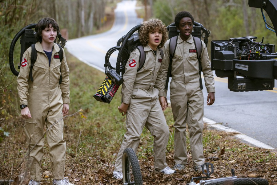 Finn Wolfhard shares his texts from the  It  and  Stranger Things     Finn Wolfhard  left  Gaten Matarazzo and Caleb McLaughlin on the set of   Stranger