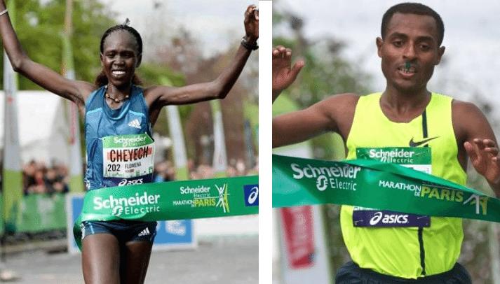 """Flomena Čeječ (2h22'41"""") i Kenenisa Bekele (2h05'04""""), pobednici Pariskog marataona (2014) u ženskoj i muškoj kategoriji, dobili su iste novčane nagrade od 30 hiljada evra"""